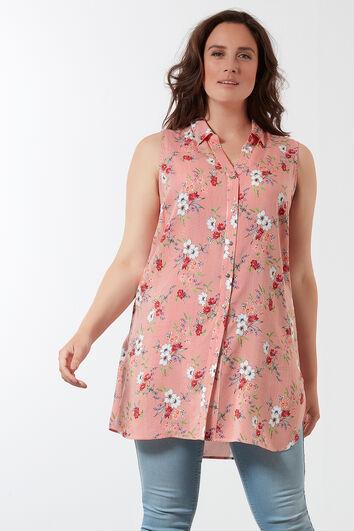 Lange ärmellose Bluse mit Blumen Muster