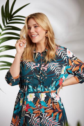 Blusenkleid mit tropischem Print