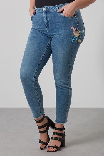 Jeans mit schmalem Schnitt und Aufdruck