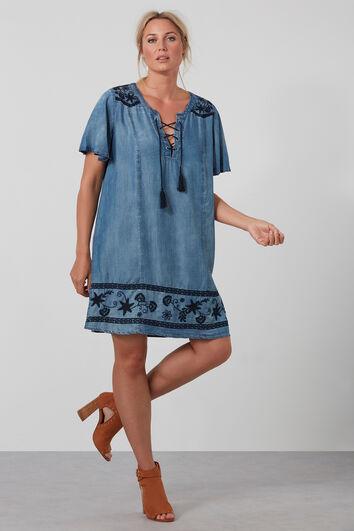 Tencel-Kleid mit Stickerei