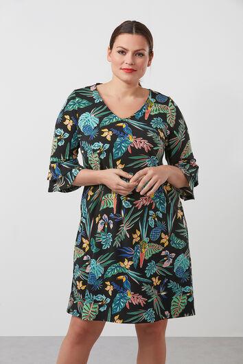 Ausgestelltes Kleid mit Print und Rüschen