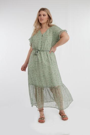 Kleid mit floralem Print und Rüschen