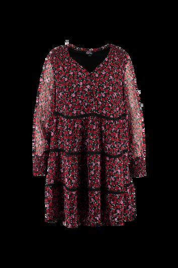 Kleid mit Blumen-Print und Smok-Details
