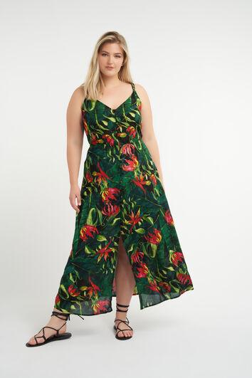 Langes Kleid mit Patchwork