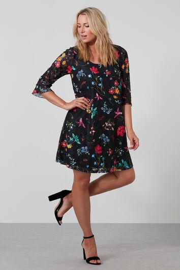 Spitzen-Kleid mit Blumen-Print