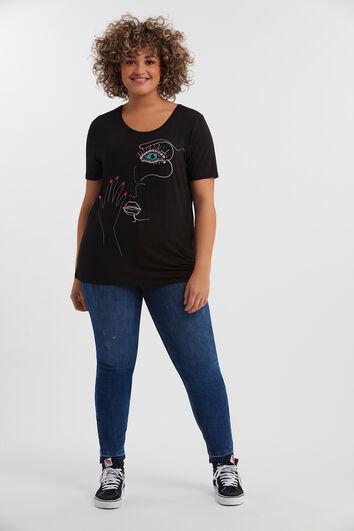 T-Shirt mit Print und Ziernieten