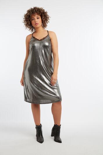 Ärmelloses Kleid in Metallic-Optik