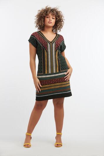 Kleid mit Grafik-Wachsdruck