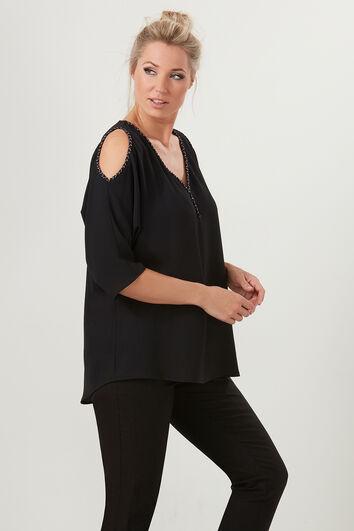 Bluse mit geflochtenen Details und offener Schulterpartie