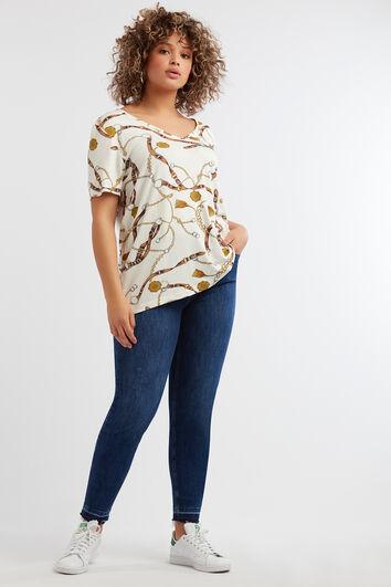T-Shirt mit V-Ausschnitt und Ketten-Print