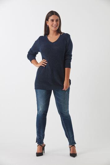 Langer Lurex-Pullover mit V-Ausschnitt