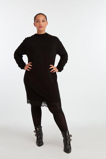 Strick-Kleid mit Spitze