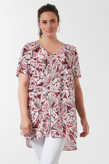 Bluse mit Allover-Print und Reißverschluss