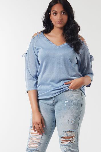Pullover mit Verschnürungen und Lurex