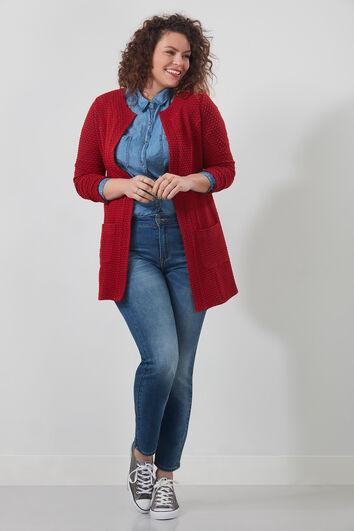 Lange Jacke mit Struktur