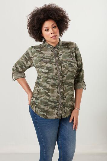Bluse mit Camouflage-Print und Pailletten