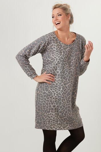 Sweatshirt-Kleid mit Leoparden-Print