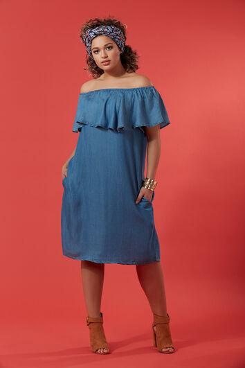 Schulterfreies Tencel-Kleid