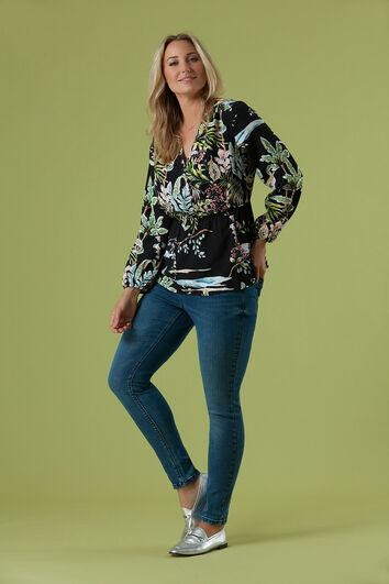 Wickel-Bluse mit floralem Print