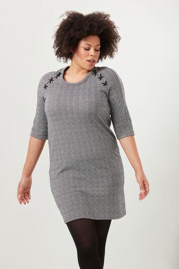 Kariertes Kleid mit Schnür-Details