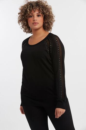 Pullover mit Ajour-Gewebe und Ziernieten