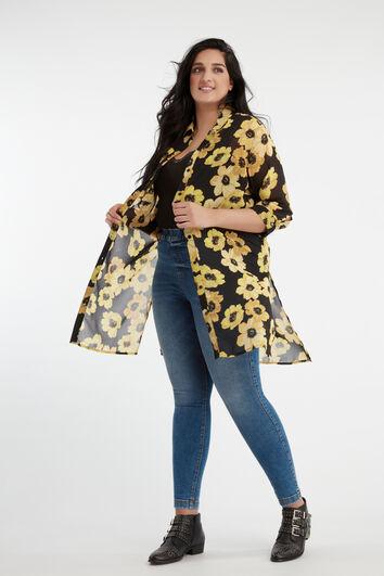 Durchsichtige Bluse mit Print