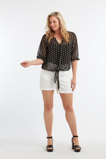 Transparente Bluse mit Punktmuster