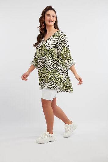 Lange Bluse mit Zebra-Print