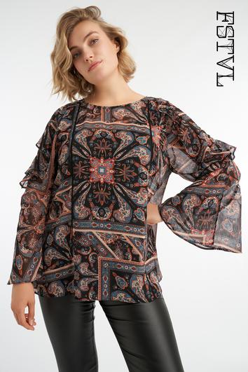 Bluse mit Paisley-Print und Glockenärmeln