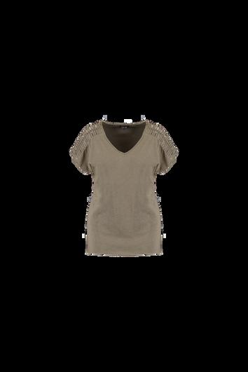 T-Shirt mit Lochmuster an der Schulter