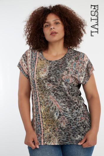 Boho-T-Shirt mit Print