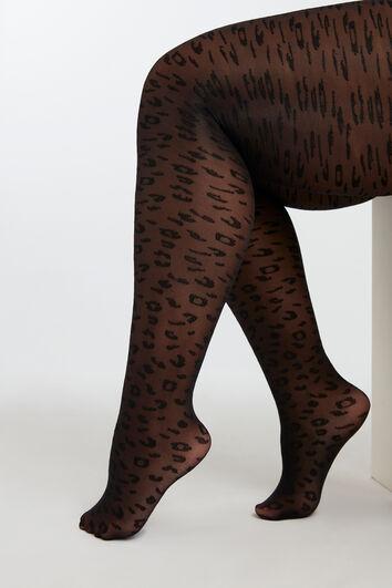 Strumpfhose mit Leoparden-Print