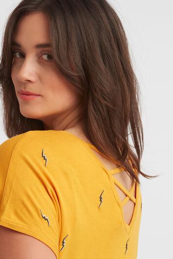 T-shirt mit Stickerei und gekreuzten Bändern