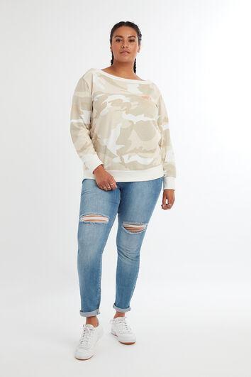 Schulterfreier Pullover mit Camouflage-Print