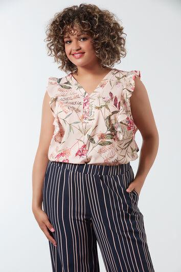 Einfarbige Bluse mit Allover-Print und Rüschen