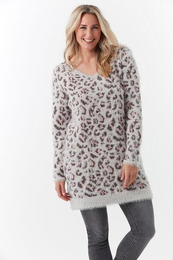 Langer Pullover mit Print