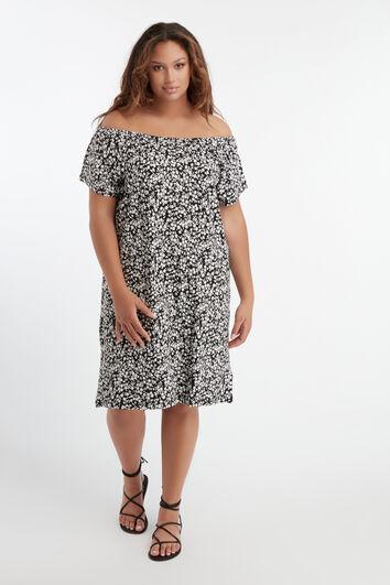 Schulterfreies Blumen-Kleid