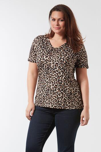 T-Shirt mit V-Ausschnitt und Allover-Print