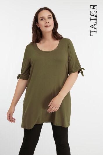 Langes T-Shirt mit Zierschleife