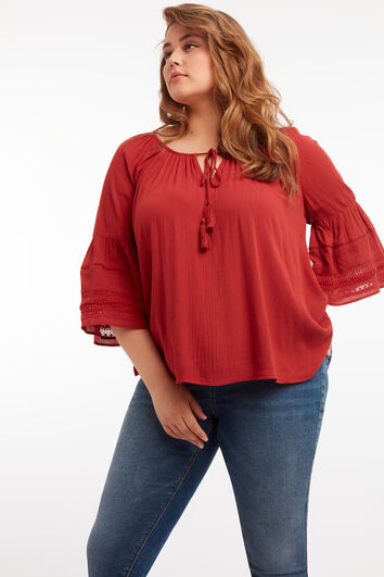Bluse mit Bell-Sleeves