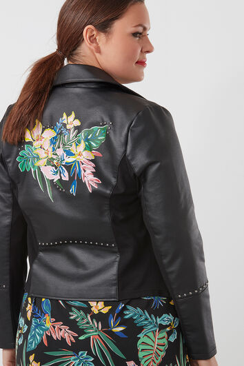 Jacke aus Kunstleder mit Tropen-Print