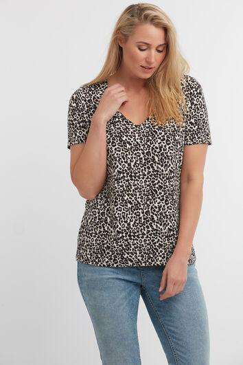 T-Shirt mit V-Ausschnitt und Leoparden-Print