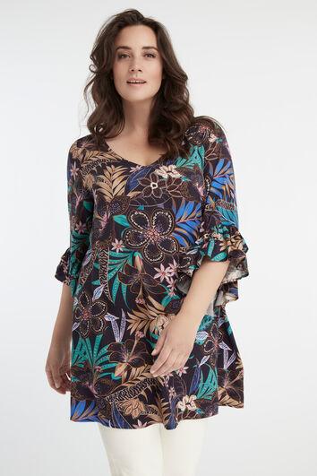 Lange Bluse mit floralem Print