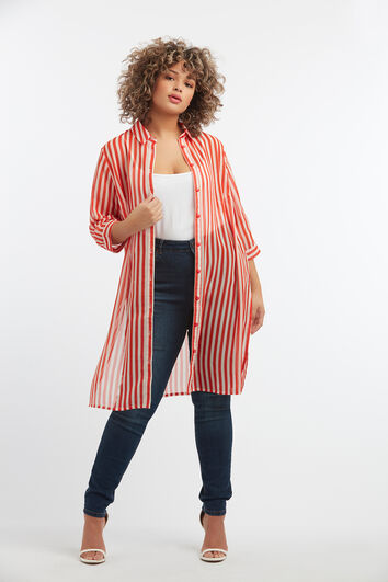 Durchsichtige Bluse mit Streifen