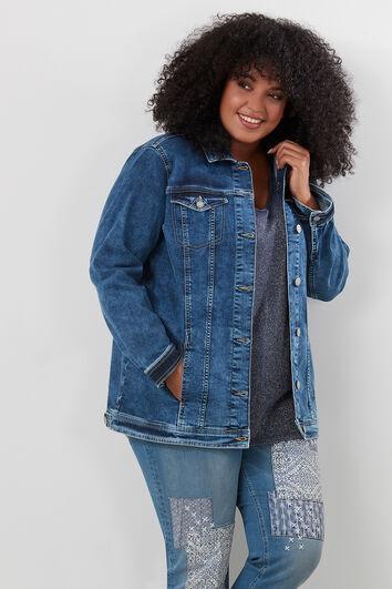 Lange, übergroße Jeansjacke