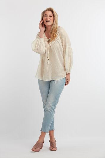 Bluse mit Puffärmeln und Folien-Print