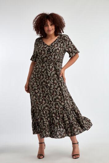 Langes Kleid mit graugrünem Blumen-Print