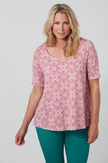 T-Shirt mit Print und leicht abfallendem Saum