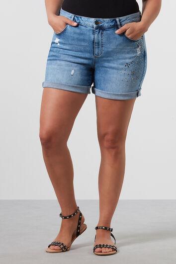 Jeans-Shorts mit Ziernieten