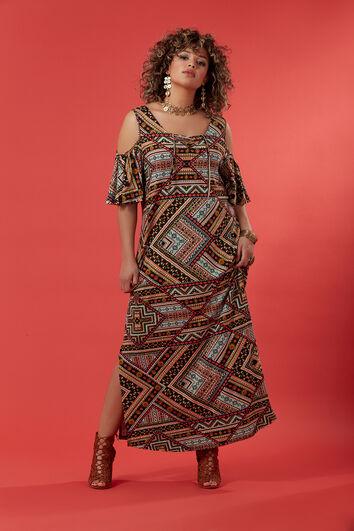 Langes Kleid mit offenen Schultern und Print